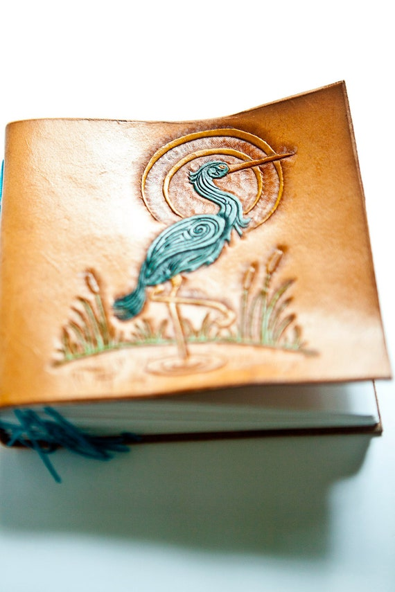 Art Nouveau Heron Leather Book, hand tooled natural leather, Art Nouveau art journal, 2012, hand tooled vegetable tanned leather
