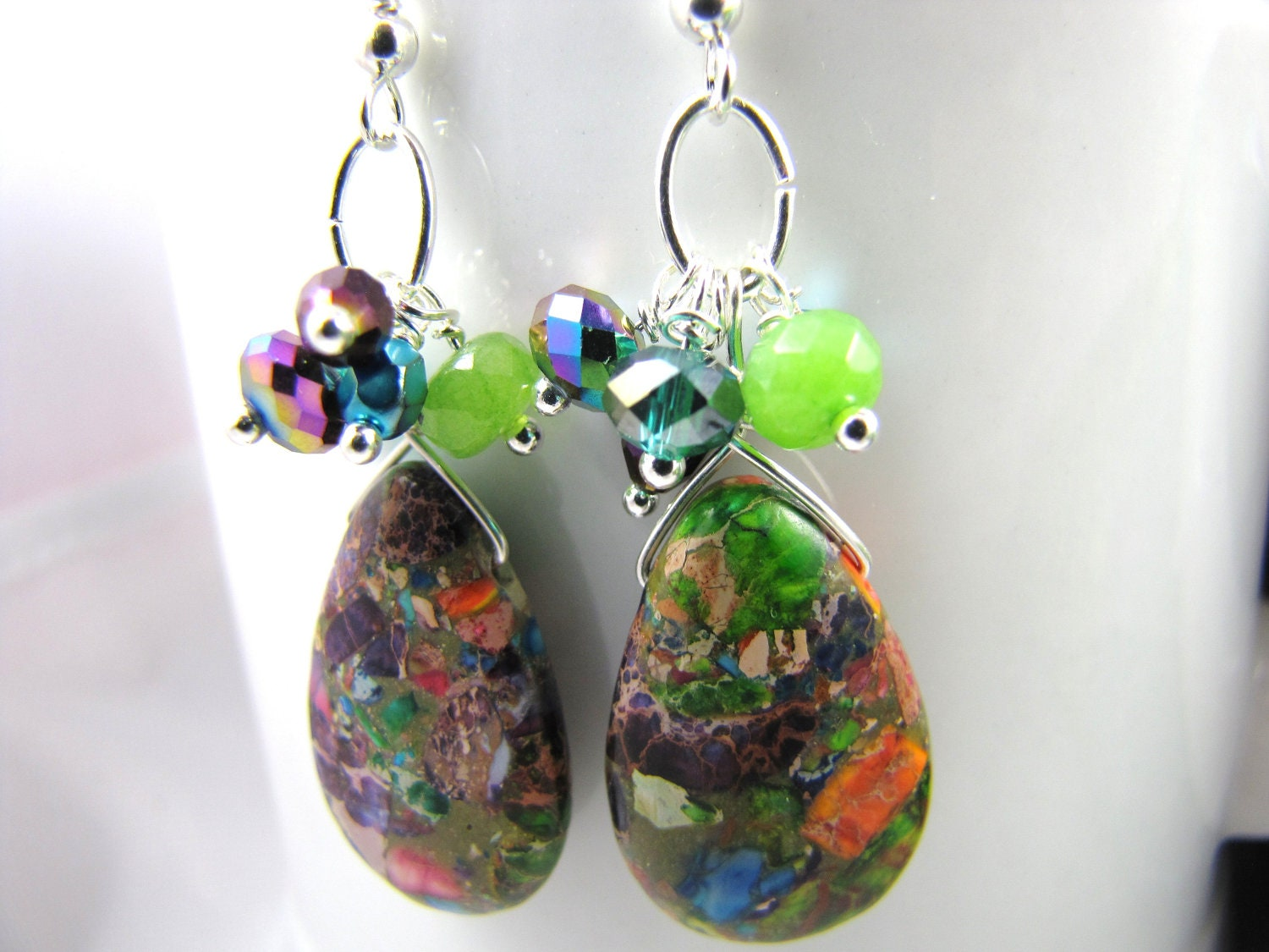 rainbow jasper multi colored gemstone earrings