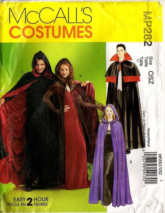 ADULT HALLOWEEN CAPE -  Dracula, Witch, Vampire, Wizard - Lined or Unlined - One Size Fits All  - Easy Two Hour - Unused, Factory  Folded
