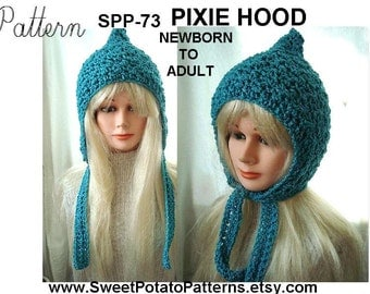 Crochet Hat Pattern - Pixie Hoodie Hat - crochet pattern SPP73, newborn, baby, toddler, children, preteen, teen, adult