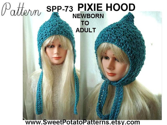 Crochet Hat Pattern - Pixie Hoodie Hat - crochet pattern SPP73, newborn, baby, toddler, children, preteen, teen, adult