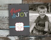 Peace & Joy Digital Horizontal Holiday Card - Customizable with scripture and photo (Luke 2:14)