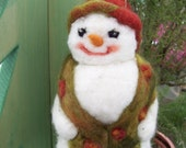 Needle Felted Snowlady With Matching Scarf & Hat Holiday Ornament