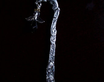 """Black Crystal Angel on Dolphin and fish Book Mark 6"""" Long"""