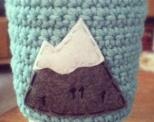 Coffee Cozy, Mountain Crochet Coffee Sleeve, Reusable Coffee Cozy with Mountain by The Cozy Project