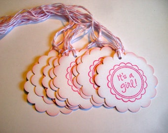It's A Girl Favor Tags - Set of 10 - Thank You on back