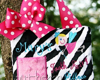 Tooth Fairy Pillow  for Girls Zebra Personalized Gift Birthday Gift Customized  Stocking Stuffer
