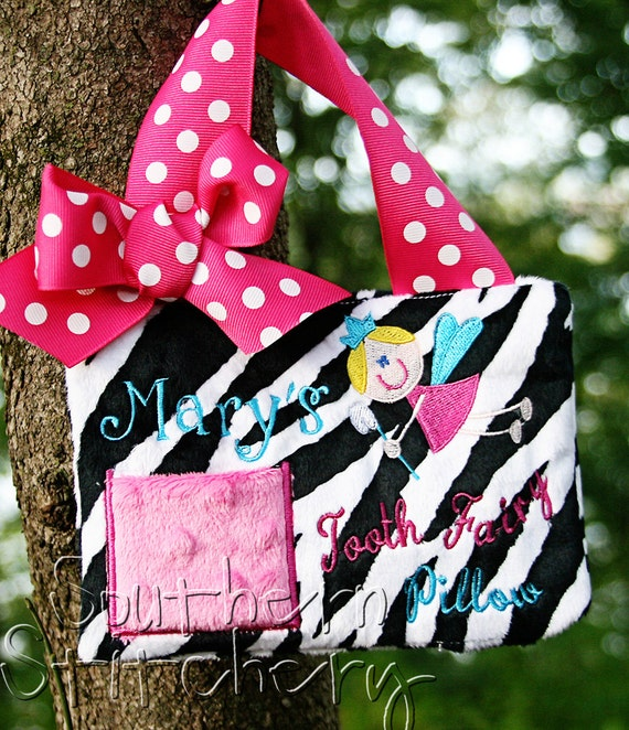 Tooth Fairy Pillow For Girls Zebra Personalized Gift Birthday