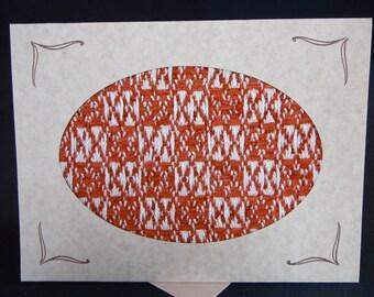 Handwoven Note Card Orange Rust (C165)