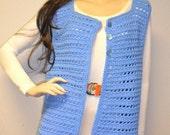 Vintage 70s Blue Hand Crochet Sweater Vest Sz M-L