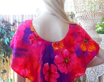 Vintage 60's Mildreds of Hawaii Barkcloth Cape Collar Hawaiian MAXI Dress Sz M  -10