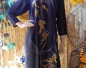Vintage  Manderin Style Long Top-Shirt -Sheer and Hand Painted Sz M-Large