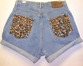 Vintage Calvin Klein   denim shorts -----with Leopard Pockets  ---Waist   31.5   inches
