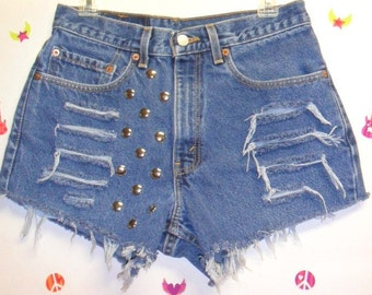 30 inch waist.......LEVIS  High Waisted  Denim Shorts -Distressed-- Studded