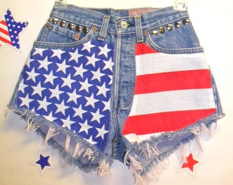 "Waist 24""  Levis High Waisted -Button Fly- Denim Shorts - American Flag Style--Studded---"