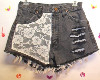 Vintage High Waist denim shorts -----with Lace ---Waist   26   inches