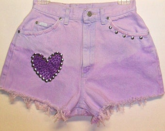 Vintage HIGH Waisted denim shorts with Leopard Heart and Studs  Waist  26  inch