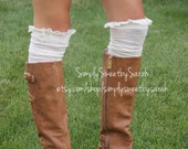 Tall Drink of Water- Cream Over the Knee Boot Socks with lace trim and buttons - Lace Socks
