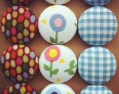 Fabric Button Magnets - Blue Gingham Polka Dots Flowers Fridge