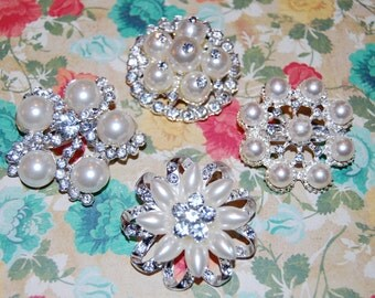 "4 Crystal Pearl brooches - 1.5"" to 2""  silver rhinestone pearl brooch - bridal wedding accessories  - vintage inspired Annabel Collection"