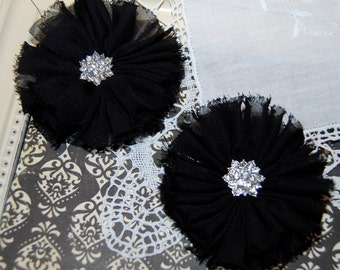 "set of 2 Black Chiffon flowers 2.5""  Shabby Frayed Fabric ballerina Chiffon flowers for headbands hair shoes Vintage Candace"