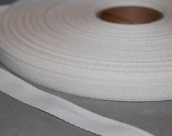 "Twill Tape - Natural Twill Ribbon Tape 3/8"" wide - (10 yards) - Lightweight cotton twill tape  approx. 10mm width vintage cream"