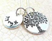 Hebrew Name Necklace | Tree of Life | Mommy Necklace | Hand Stamped Sterling Silver | Custom Jewelry | Personalized Jewelry