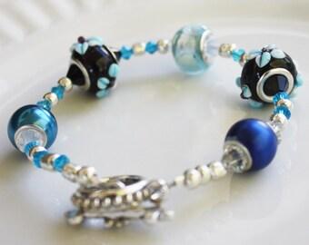 Blue Lampwork Floral Bracelet - Swarovski Crystals - Large Hole Bead bracelet, stacking bracelet, lampwork bracelet, swarovski bracelet