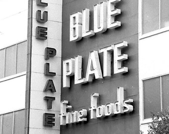 New Orleans, Blue Plate Mayonnaise, black and white,photograph, retro, architectural, New Orleans food, historic building,