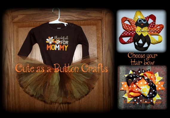 Baby's first Thanksgiving tutu outfit size 6 months LAST ONE with matching hair bow Thankful for Mommy