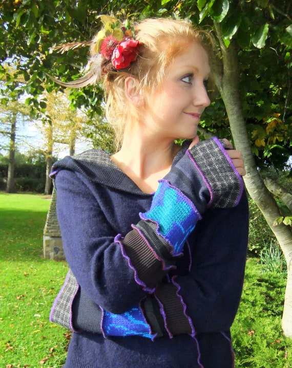 Blue Navy Pixie Hoodie  - One of a Kind - Large - FOR RENEE