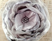 Soft gray fabric flower brooch or hair clip, bridal, special occasion
