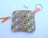 Coin purse with zipper good for money and credit cards and is  fully lined with key ring attached.