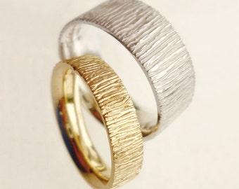 Wedding Band Set, choice of 14K yellow, rose or white gold, simple elegant - made to order