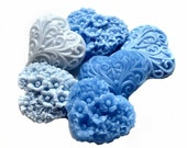 Decorative Soap Gift Hearts in Shades of Blue