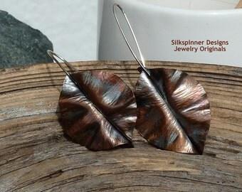 Fold Formed Copper Leaf Earrings Asymmetrical/ Falten Forming Kupferblätter Asymmetrische Ohrhänger