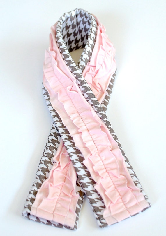 Camera Strap Cover- Gray and white herringbone with light pink ruffles