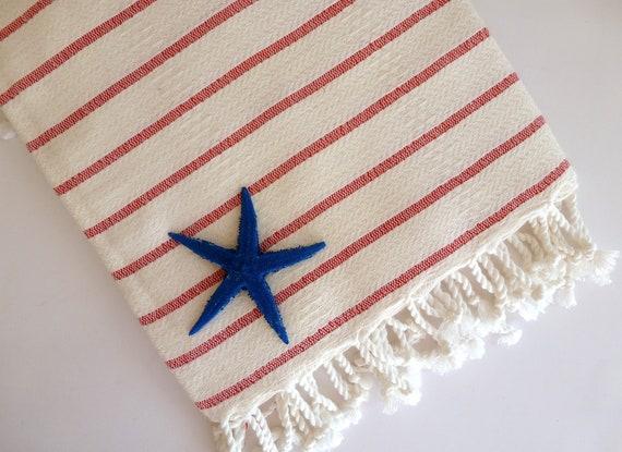 Organic Bamboo Turkish Towel, Peshtemal, Hammam towel, spa, yoga, beach towel, bath towel, Natural Soft Bamboo, Red Striped