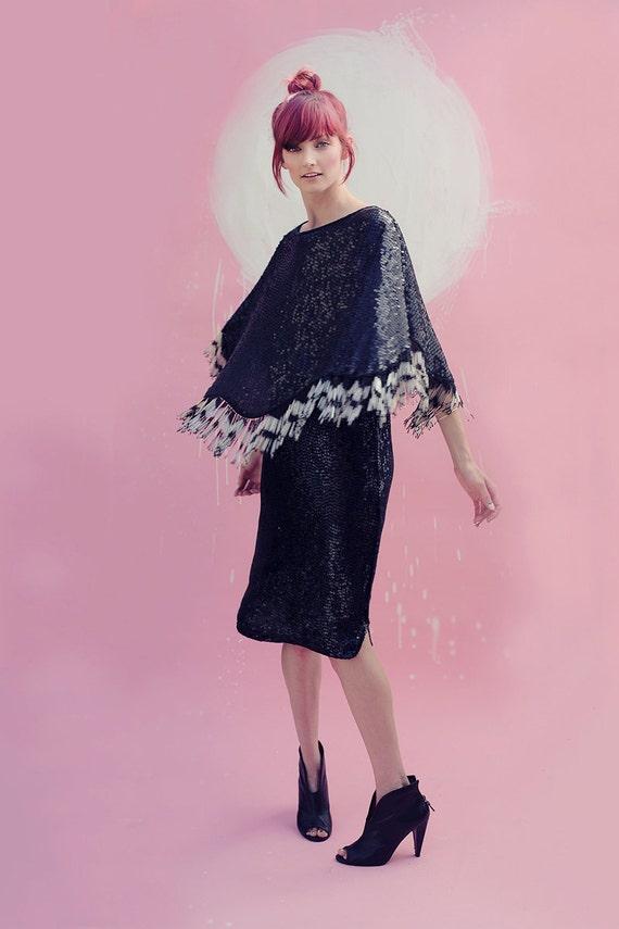 Sequin Trophy Dress - Silk w/ Beaded Fringe Capelet