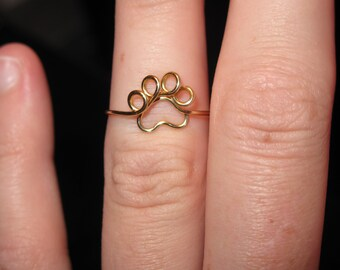 Wire Wrapped Single Paw Print MADE to ORDER Knuckle or Regular Size Ring