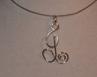 Wire Wrapped Single Initial Pendant MADE to ORDER