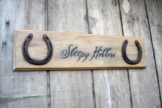 Sleepy Hollow Horseshoe Sign -Rustic Decor/ Fall Decor/ Fall Signs/ Halloween Decor (Autumn)