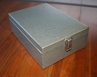 Vintage Textured Grey Metal Check File Box - Mid Century - Mad Men - Industrial