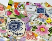FREE SHIPPING 90 Mixed Lot Grab Bag w Many Different Styles of Mosaic Tiles Tesserae Handmade Dinnerware Plates Dishes Flowered Mosaics