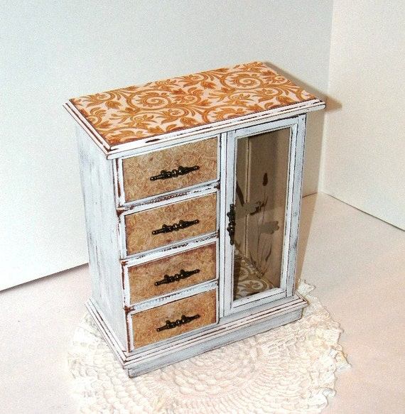 French Cottage Shabby and Chic Jewelry Box - Hand Painted Jewelry Armoire - Dresser Jewelry Box - SALE - Upcycled Vintage Music Jewelry Box