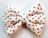 Country Girl Bow, Strawberry Bow, Vintage Fabric, Handmade Bows, Free Shipping, Black Friday, Cyber Monday