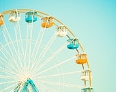 "Carnival Photography - nursery ferris wheel circus photo aqua blue orange white teal light cute kids room - 8x8 Photograph, ""Carnival Fun"""