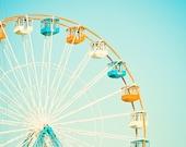 "Carnival Photography - nursery ferris wheel circus photo aqua blue orange white teal light cute kids room - 8x8 Photograph, ""Carnival Fun"""