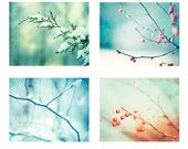 Winter Photography Set, Four Nature Photos, 4 blue snow mint green teal print set aqua turquoise red orange berries berry branches pictures