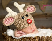 Rudolph The Red Nosed Reindeer Hat.  Excellent Christmas Photography Prop.  Newborn thru 6 months.  Fabric ears